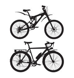 Mountain and touring bikes black vector