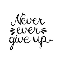 Never ever give up inspiration quotation vector