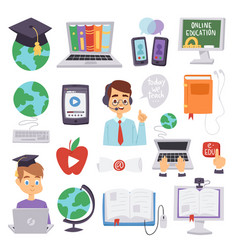 Online education languages school and vector