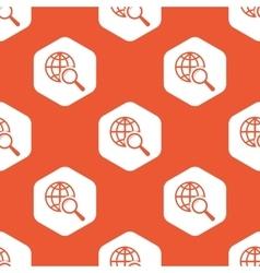 Orange hexagon global search pattern vector