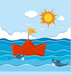 orange paperboat floating in the ocean vector image