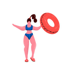 plus size woman with rubber ring girl in bikini vector image