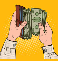 Pop art businessman hands holding wallet vector