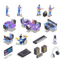 Radio studio icons set vector