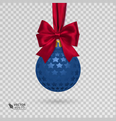 realistic christmas ball with red ribbon isolated vector image