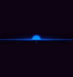 Retrowave style blue glowing vector