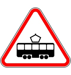 Road sign intersection with tram line vector