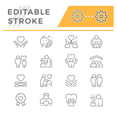 Set line icons care and support vector