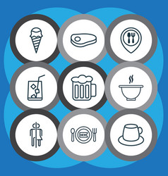 set of 9 eating icons includes coffee cup vector image
