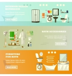 Set of banners with bathroom interior vector
