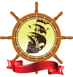 Ship and wheel vector