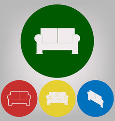 Sofa sign 4 white styles of vector