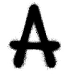 Sprayed A font graffiti in black over white vector