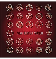 Star icon set bright vector