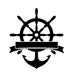 Steering Wheel and Anchor vector image