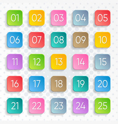 twenty five colorful numbers square design vector image