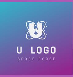 U initial space force logo design galaxy rocket vector