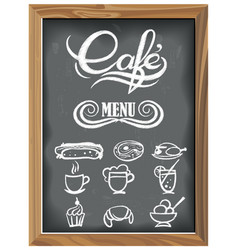 Vintage chalkboard with cafe menu icons vector