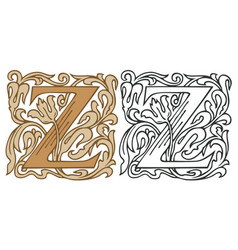 Vintage initial letter z with baroque decoration vector