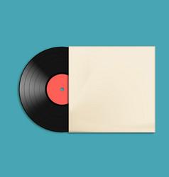 Vinyl record disc in paper case vector
