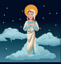 Virgin mary blessed night background vector