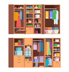 Wardrobe open and closed doors home storage vector