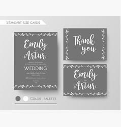 Wedding invite gray color invitation design vector