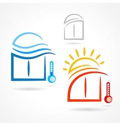 windows set emblem sun wind symbol element icons vector image