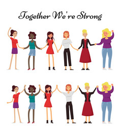 Women holding hands together flat vector