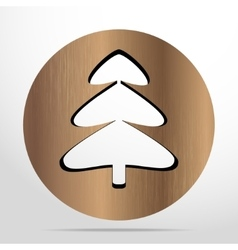 Xmas tree wooden flat icon vector