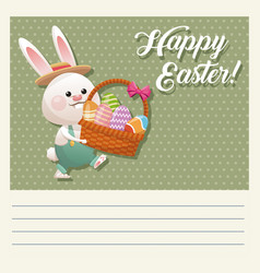 cartoon happy easter bunny basket egg vector image vector image