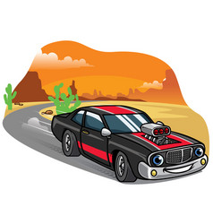 cartoon muscle car drive fast on the road vector image