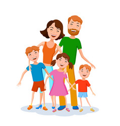 cute cartoon family in colorful stylish clothes vector image