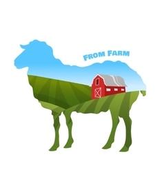 Farm landscape inside sheep silhouette Concept of vector image vector image