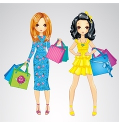 Fashion Girls With Shopping Bags vector image
