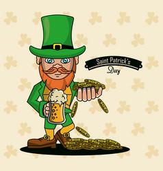 saint patricks elf cartoon card vector image vector image