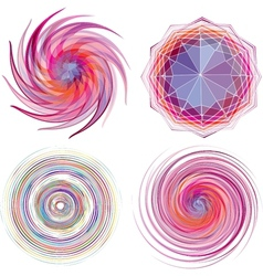 Set of four color spiral vector image vector image