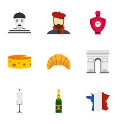Symbols of paris icons set flat style vector