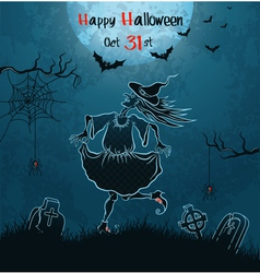Witch dances on cemetery vector