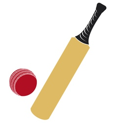 cricket bat and cricket ball vector image vector image