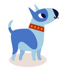 cute cartoon blue bull terrier dog i vector image vector image
