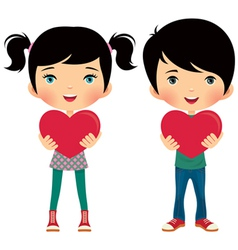 girl and boy give valentine vector image vector image