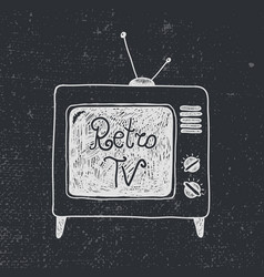 hand drawn old retro tv vector image