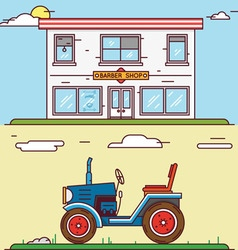 Linear flat construct your village vector image vector image