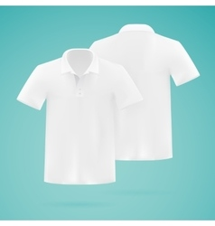 Mens white polo shirt template Realistic vector image vector image