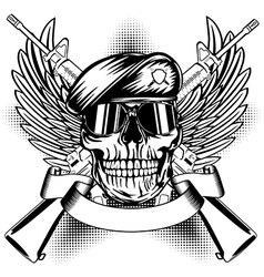 Skull in beret and two automatic guns vector image vector image