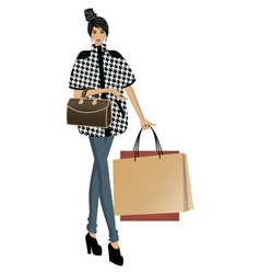 Fashion lady with bags vector image vector image
