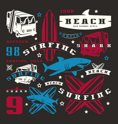 set of graphic elements bus surfing shark vector image vector image
