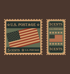 vintage retro united states postage stamps vector image vector image