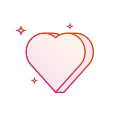 3d heart icon gradient line vector image
